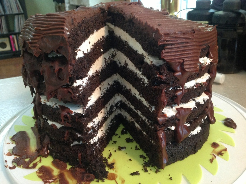 Mile-High Chocolate Cake With Vanilla Buttercream Recipe ...
